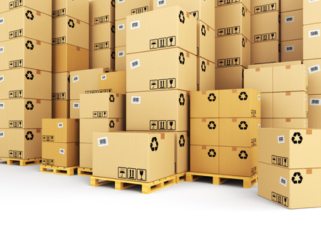 delivery box: Delivery concept. Boxes on pallet. Space for text. 3d Stock Photo