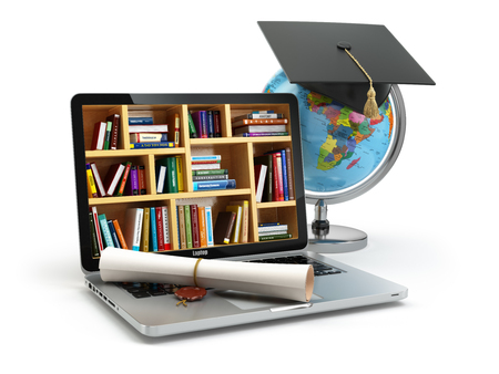 Концепция образования. Ноутбук с книгами, глобус, крышкой окончания и диплом. 3d