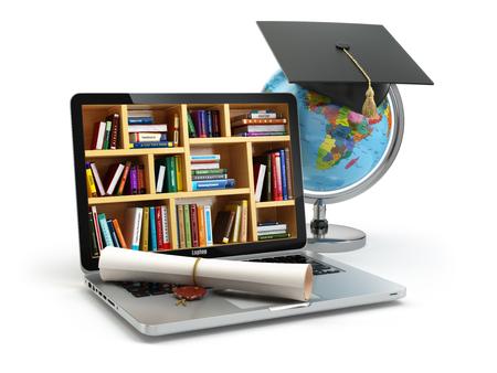 educação: Conceito de educação. Portátil com livros, globo, tampão da graduação e diploma. 3d
