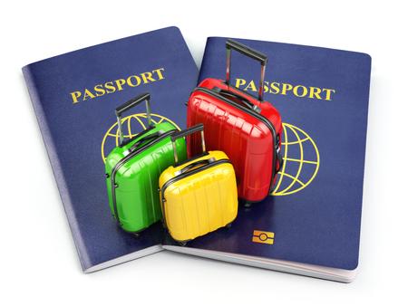 valigia: Viaggi e turismo concetto. Passaporto e valigie isolato su bianco. 3d Archivio Fotografico