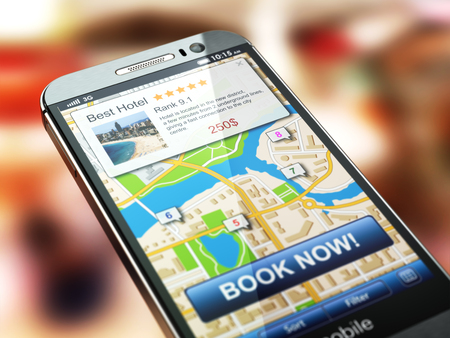 Online accommodation booking concept. Smartphone and system  hotel reservations on the screen. 3d