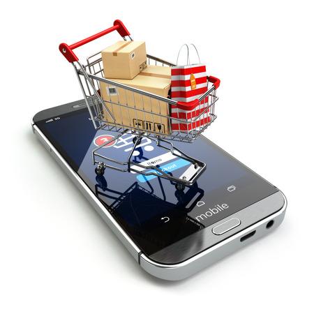 Online winkelen concept. Mobiele telefoon of smartphone met kar en dozen en tas. 3d