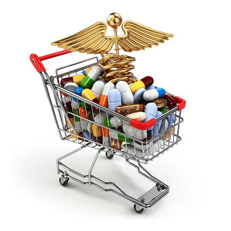pharmacy pills: Pharmacy medicine concept. Shopping cart with pills and caduceus symbol. 3d Stock Photo