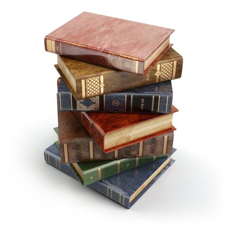 Stack of old vintage books isolated on white. Education. 3d Reklamní fotografie