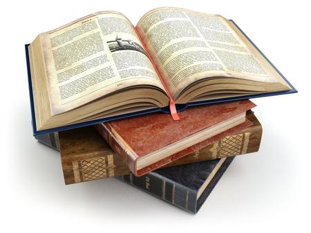 libros abiertos: libros antiguos Olld con una abierta aislado en blanco. Educación. 3d. Foto de archivo