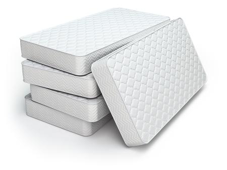 apilar: Colchón blanco aislado en fondo blanco. 3d Foto de archivo
