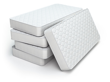 White mattress isolated on white background. 3d Banque d'images