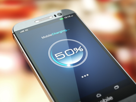 electric charge: Mobile phone charging. Smartphone with charge battery level on the screen. 3d