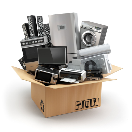 Delivery or moving concept. Home appliance in box. Fridge, washing machine, tv printer, microvawe oven, air conditioneer and loudspeakers. 3d Stockfoto