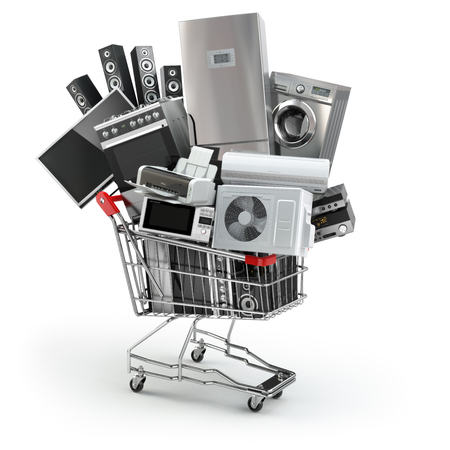 Home appliances in the shopping cart. E-commerce or online shopping concept. 3d Foto de archivo