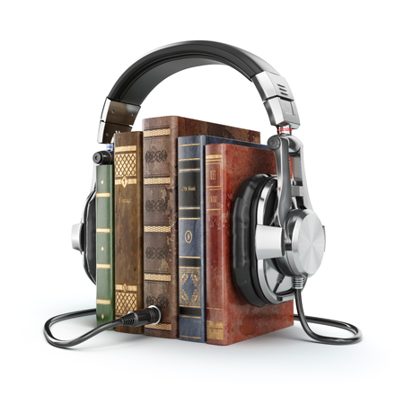 Audio books concept. Vintage books and headphones. 3d