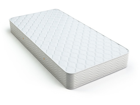mattress: White mattress isolated on white background. 3d Stock Photo