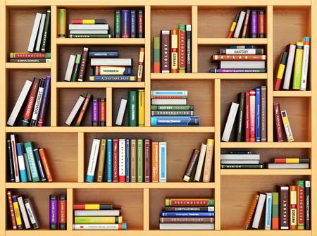 Bildung Konzept. Bücher und Lehrbücher auf dem Bücherregal. 3d Lizenzfreie Bilder