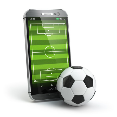 online news: Mobile soccer. Football field on the smartphone screen and ball. Online ticket sales concept. 3d