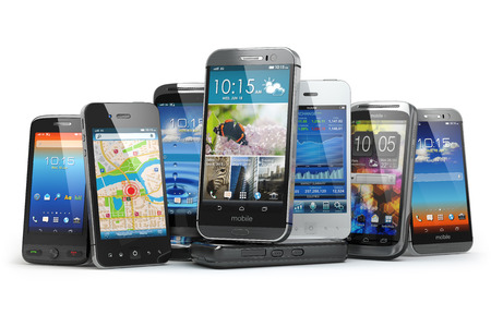 many: Choose mobile phone. Row of the different smartphones. 3d