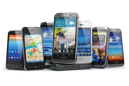 Wählen Sie Handy. Reihe der verschiedenen Smartphones. 3d
