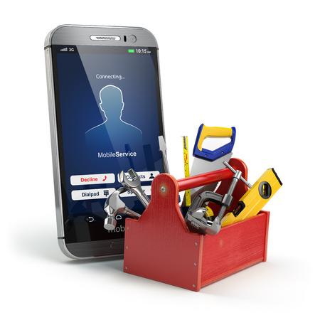 mantenimiento: concepto de servicios de telefonía móvil. Soporte en línea. Smartphone con la caja de herramientas y herramientas sobre fondo blanco aislado. 3d