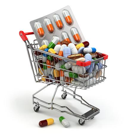 sobredosis: Farmacia concepto de medicina. Carro de compras con las píldoras y cápsulas. 3d