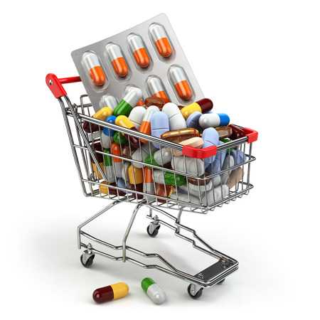 pharmacy: Pharmacy medicine concept. Shopping cart with pills and capsules. 3d