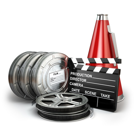 movie production: Video, movie, cinema vintage production concept. Reels, clapperboard and megaphone. 3d