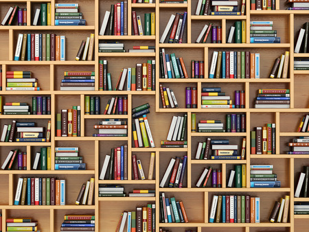 literatura: Concepto de la educación. Libros y libros de texto sobre la estantería. 3d
