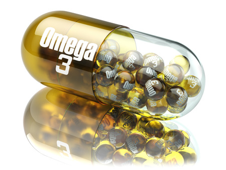 Pill with Omega 3  element. Dietary supplements. Vitamin capsules. 3d