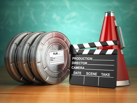 roll film: Video, movie, cinema vintage production concept. Reels, clapperboard and megaphone. 3d