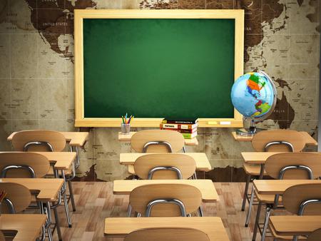 Leeg klaslokaal met schoolbanken, stoelen en een krijtbord. 3d