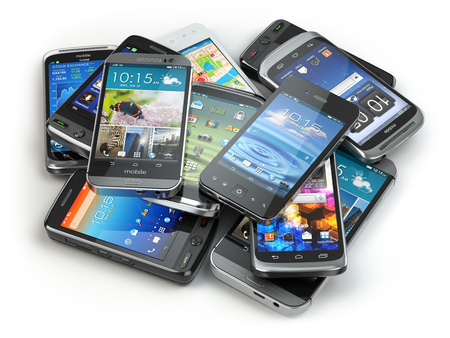Choose mobile phone. Heap of the different smartphones. 3d 스톡 콘텐츠