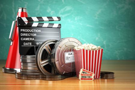 Video, movie, cinema vintage production concept. Film reels, clapperboard, tickets, popcorn and megaphone. 3d