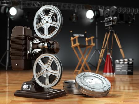 Vídeo, cine, cine concepto. Proyector de la vendimia, la cámara retro, carretes, claqueta y la silla del director. 3d Foto de archivo - 48210543