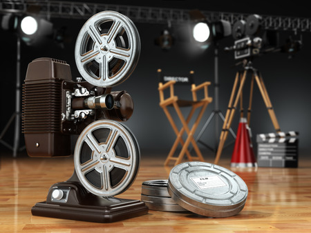 filmstrip: Video, movie, cinema concept. Vintage projector, retro camera, reels, clapperboard and director chair. 3d Stock Photo