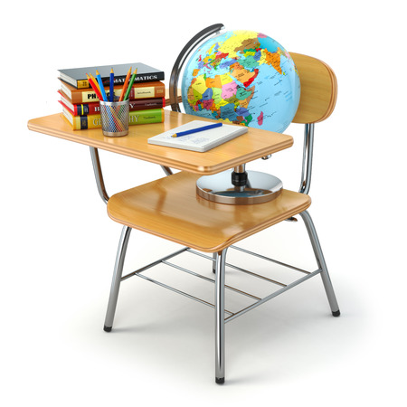 chair wooden: Wooden school desk and chair with books, pencils and globe isolated on white. 3d