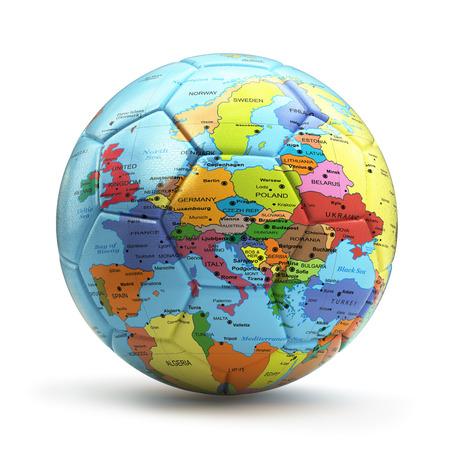 europa: concepto campeonato europeo. Fútbol o fútbol con balón mapa de Europa. 3d