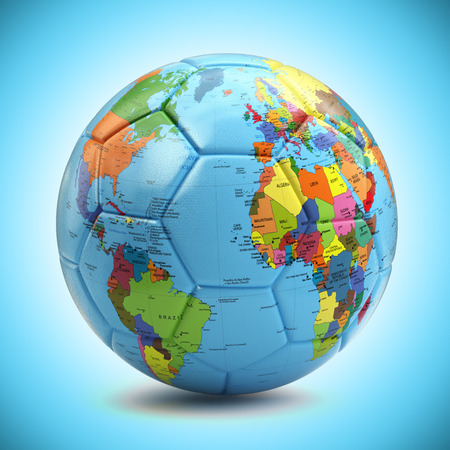 3d ball: World championship concept. Soccer or football ball with world map. 3d