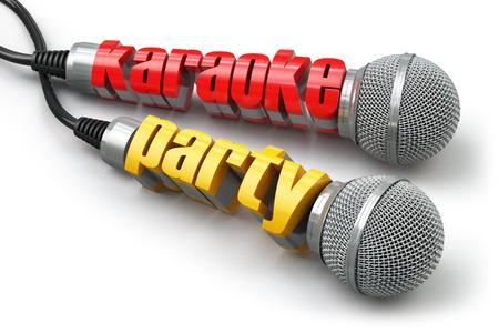 Karaoke-party concept. Twee microfoons met tekst. 3d