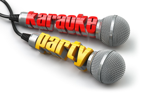 retro music: Karaoke party concept. Two microphones with text. 3d