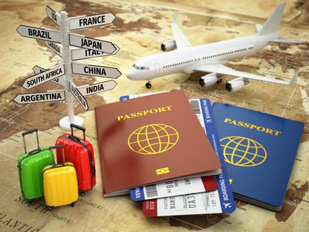 Viaje o el concepto de turismo. Pasaporte, avión, pasajes para el avión, el equipaje y la señal de destino en el mapa mundial. 3d Foto de archivo