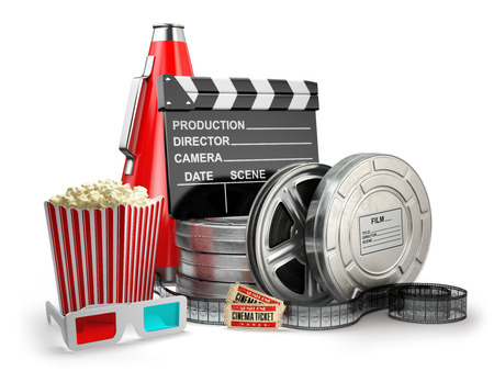 Video, movie, cinema vintage production concept. Film reels, clapperboard, tickets, popcorn and megaphone on white isolated background. 3d