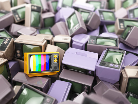 television show: Heap of vintage tv. End of television. Conceptual background. 3d Stock Photo