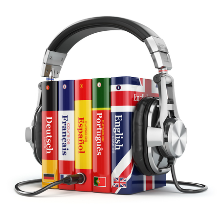 Learning languages online. Audiobooks concept. Books and headphones isolated on white. 3d Stock Photo