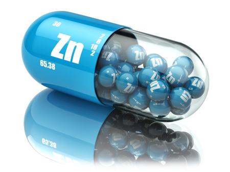 pastillas: Píldoras con suplementos dietéticos de zinc Zn elemento. Las cápsulas de vitamina. 3d Foto de archivo