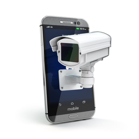 Mobile phone with CCTV camera. Security or privacy concept. 3d Stock Photo