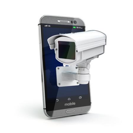 privacidad: Teléfono móvil con cámara de circuito cerrado de televisión. La seguridad o el concepto de privacidad. 3d