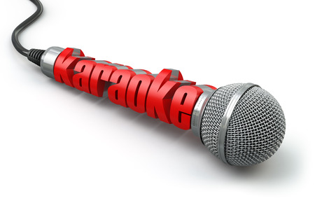 festival stage: Karaoke party concept. Two microphones with text. 3d