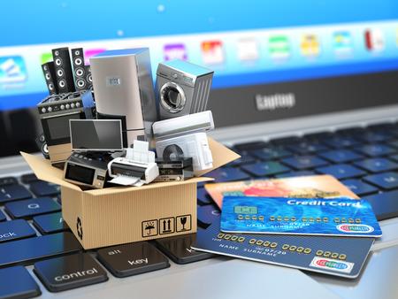 gospodarstwo domowe: E-commerce lub zakupy lub dostawy koncepcja Internecie. Urządzenie domu w pudełku z kart kredytowych na klawiaturze laptopa. 3d