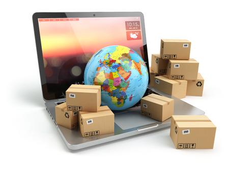 送料、配送、物流の概念。ノート パソコンのキーボードの地球や段ボール箱。オンライン技術。3 d