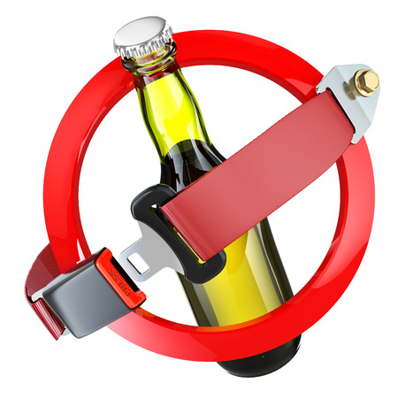 not permitted: No alcohol sign concept. Bottle of beer and safety belt isolated on white. 3d
