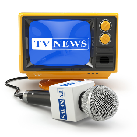 mics: Tv news or reportage concept. Microphone and television. 3d