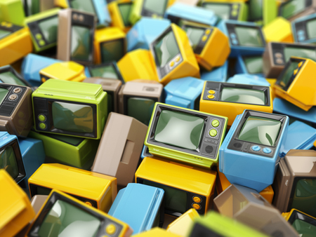 Heap of vintage tv. End of television. Conceptual background. 3d 版權商用圖片